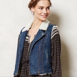 Anthro daughters of the liberation denim fur vest